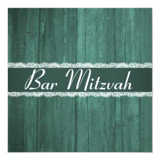 O bar de madeira esmeralda rústico Mitzvah do Convite Quadrado 13.35 X 13.35cm