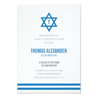 O bar listrado azul Mitzvah convida Convite 12.7 X 17.78cm