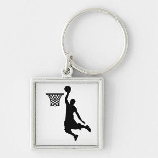 O basquetebol é grandes esportes chaveiro quadrado na cor prata