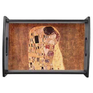 O beijo por Gustavo Klimt Bandeja De Alimentos