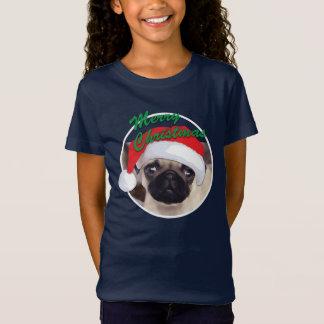 O Bella das meninas do Pug do Natal+T-shirt do T-shirt