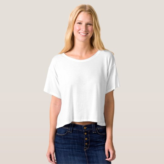 Crop top corte reto feminino Bella+Canvas, Branco