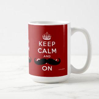 O bigode mantem a calma e continua o vermelho de | caneca