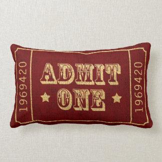 O bilhete de teatro lunático do circo admite um almofada lombar