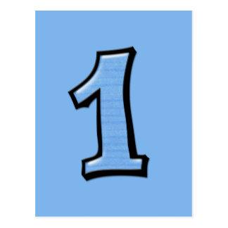 O bobo numera 1 cartão azul cartão postal