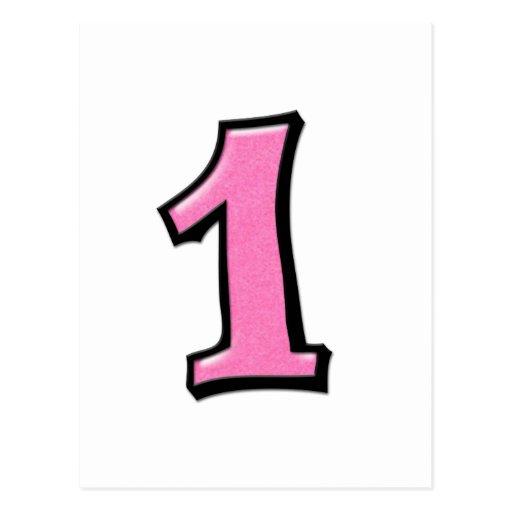O bobo numera 1 cartão cor-de-rosa cartões postais