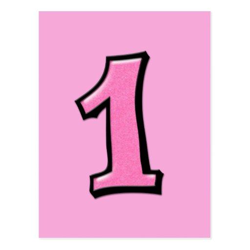 O bobo numera 1 cartão cor-de-rosa cartoes postais