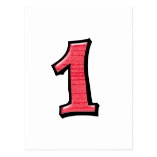 O bobo numera 1 cartão vermelho cartão postal