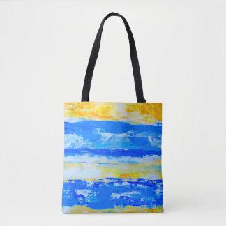 O bolsa azul e amarelo da praia do verão