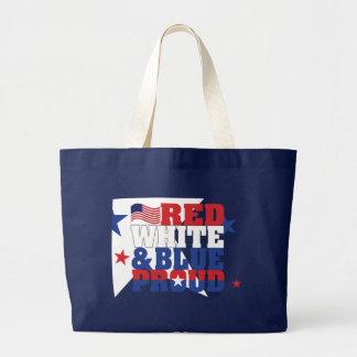 O bolsa enorme escuro branco & azul vermelho