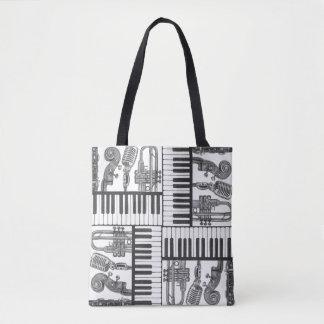 O bolsa preto e branco dos instrumentos musicais