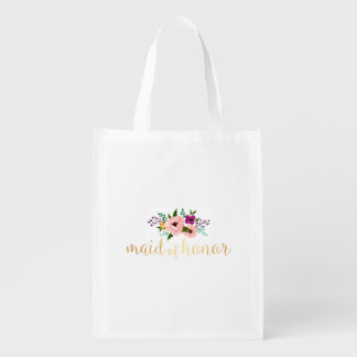 O bolsa reusável - o bolsa floral do mercado da sacola ecológica