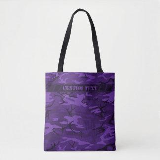O bolsa roxo escuro de Camo com texto feito sob