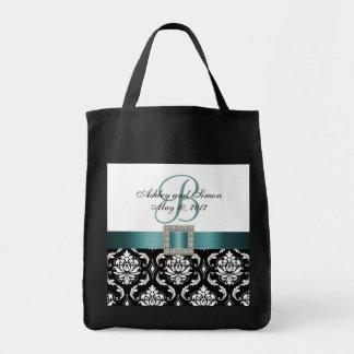 O bolsa Wedding personalizado de turquesa damasco