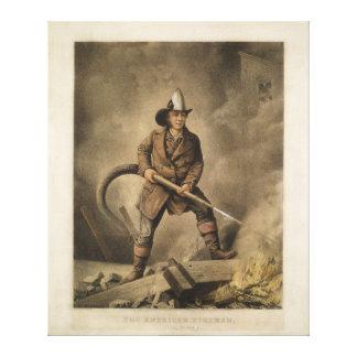 O bombeiro americano: Enfrentando o inimigo (1858) Impressão Em Tela