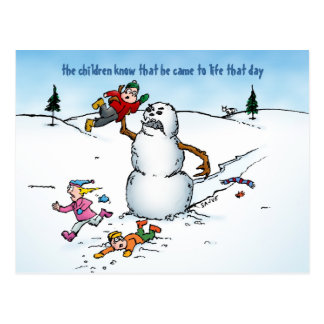 O boneco de neve ataca o cartão engraçado do cartão postal