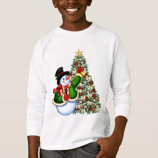 O boneco de neve do Natal caçoa o t-shirt do