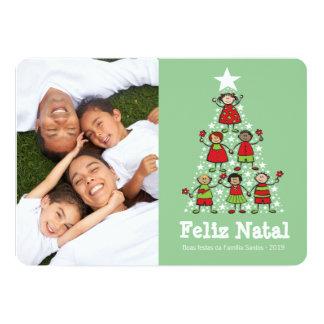 O bonito de Árvore de Natal faz miúdos natais Convite 12.7 X 17.78cm