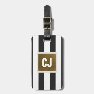 O branco cinzento elegante listra o monograma de tag de mala