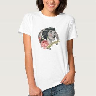 O branco da camisa do T das mulheres do bar da T-shirts