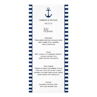 O branco dos azuis marinhos listra o menu náutico 10.16 x 22.86cm panfleto