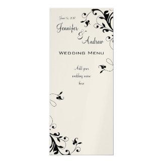 """O branco preto roda cartões do menu do casamento convite 10.16"""" x 23.49cm"""