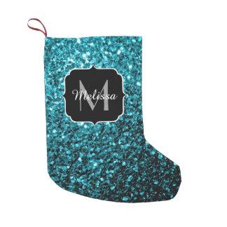O brilho azul do Aqua bonito sparkles monograma Bota De Natal Pequena