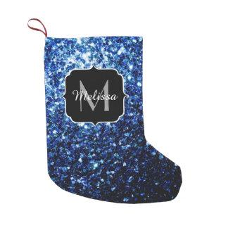 O brilho azul escuro bonito sparkles monograma meia de natal pequena