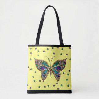 O brilho colorido da borboleta do mosaico Stars a Bolsa Tote