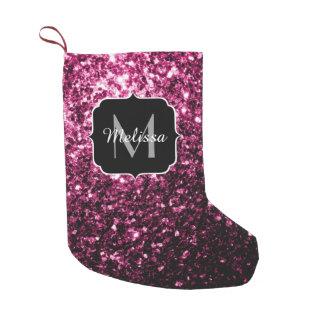 O brilho cor-de-rosa bonito sparkles monograma bota de natal pequena
