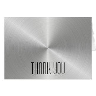 O brilho de prata do metal - obrigado cartão de
