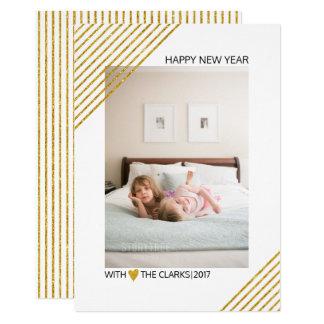 O brilho do ouro listra a foto na moda do ano novo convite 12.7 x 17.78cm