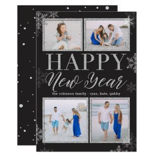 O brilho molda o cartão com fotos EDITÁVEL do ano Convite 12.7 X 17.78cm