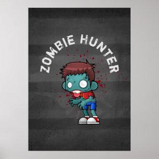 O caçador do zombi com o Splatter do sangue Pôster