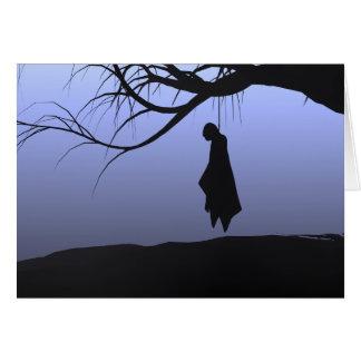O cadáver de suspensão o Dia das Bruxas não carda Cartão