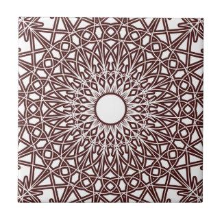 O café Brown Crocheted o azulejo do laço