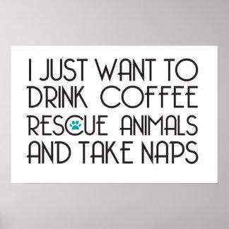 O café da bebida toma a animais do salvamento das poster