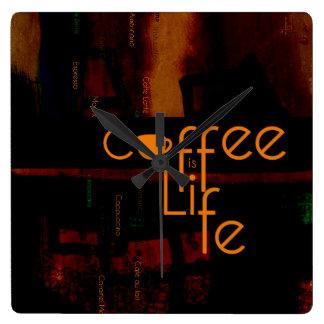 O café é vida relógios de paredes