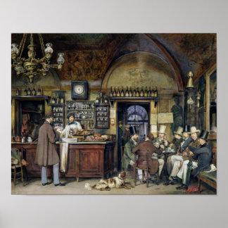 O café em Roma, 1856 Poster