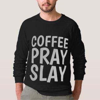 O CAFÉ PRAY MASSACRA t-shirt cristãos