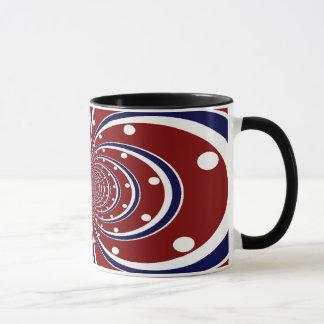 O caleidoscópio azul branco vermelho do caneca