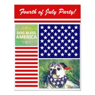 O cão abençoa América patriótica Convite 10.79 X 13.97cm