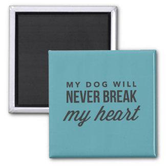 O cão não quebrará meu ímã do azul do coração ímã quadrado