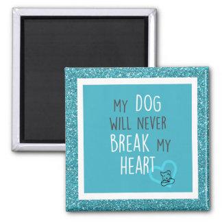 O cão não quebrará o ímã do coração com ilustração ímã quadrado