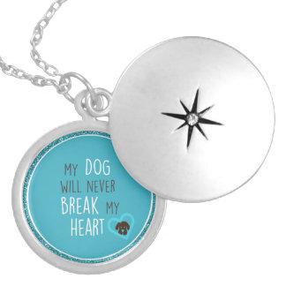 O cão não quebrará o Locket esterlino da Colar Medalhão