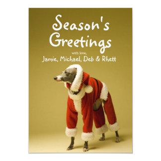 O cão veste a roupa 2 do Natal do pai Convite 12.7 X 17.78cm