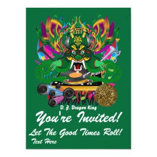 """O carnaval D.J. Dragão rei vista sugere por favor Convite 16.51"""" X 22.22cm"""