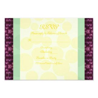 O carnaval pontilha RSVP roxo, verde, amarelo Convite 8.89 X 12.7cm