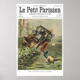 O carro cai em Seine - impressão do jornal de 1901