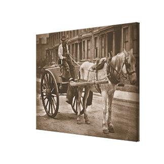 """O carro de água, de """"da vida rua em Londres"""", 1877 Impressão De Canvas Envolvida"""